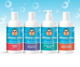 Monkey Max and Friends organic kids shampoo, hand wash, bubble bath